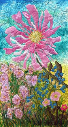 """https://www.etsy.com/listing/117432150/a-fiber-art-wall-hanging-in-an """"One Peony, Wild Roses"""""""