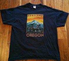 Portland Oregon Cycling T-Shirt Men's XL blue tee bike cycle touring mountains  #Gildan #GraphicTee