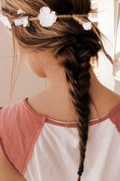Romantic 2 Strand Braid Hairstyle for Girls. Love that headband!! Braided twine with white flowers <3