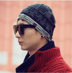 Mens stripe knit hat for winter casual beanie hats