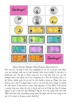 A great game for note and coin recognition! Teaching Money, Teaching Resources, Australian Money, Pop Stick, Numeracy, Maths, Paddle, Mathematics, School Ideas