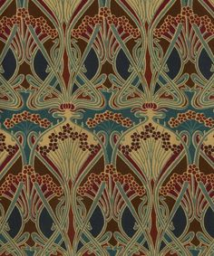 The concept for Ianthe Liberty print was created by well-known French Art Nouveau designer, R. Beauclair, in approximately Motifs Art Nouveau, Design Art Nouveau, Art Nouveau Pattern, Art Design, Textile Design, Interior Art Nouveau, Architecture Art Nouveau, Papier Peint Art Nouveau, Art Nouveau Wallpaper