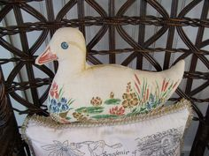 Vintage Screen Print Fabric Duck Decorative Pillow Stuffed Duck by lookonmytreasures on Etsy