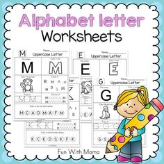 These no prep alphabet worksheets are great alphabet letter practice for preschoolers. The letter worksheets include traceable letters, alphabet coloring and more to help reinforce letter recognition in preschoolers. Alphabet Activities, Preschool Activities, Preschool Shapes, Kindergarten Fun, Kindergarten Worksheets, Printable Alphabet Worksheets, Free Printable, Number Worksheets, Tracing Worksheets