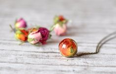 Real Rosebud Resin Sphere Pendant Necklace Pressed by Resity