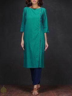 Turquoise Boat Neck Handloom Cotton Kurta by Jaypore Salwar Pattern, Kurta Patterns, Suit Pattern, Salwar Designs, Kurta Designs Women, Blouse Designs, Kurta Style, Kurta Neck Design, Sleeves Designs For Dresses