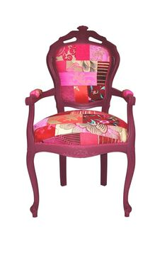 Eye-catching pink patchwork chair
