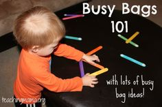 """Busy Bags 101--is it more """"busy bags"""" I need to keep my little guys busy ... or maybe this Mama just needs to figure out how to get more CREATIVE in making use of the activities we already have!!! Or maybe """"antsy"""" and """"toddler boys"""" are just synonyms ;~)"""