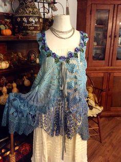 Rising Tides Crochet Tunic by Luv Lucy boho by LuvLucyArtToWear, $175.00