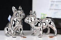 Money box French Bulldog Ceramic silver, for decoration. Spanish Art, Money Box, White Ceramics, French Bulldog, Mosaic, Lion Sculpture, Statue, Instagram Posts, Silver