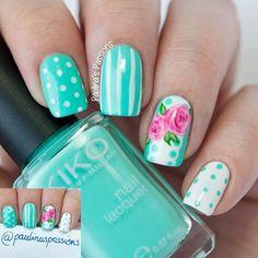 Tiffany Blue Nails With Polka Dots and Pink Roses.