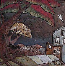"Open Door Wall Tile by David Stabley (Ceramic Wall Sculpture) (15"" x 15"")"