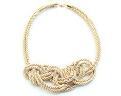 Statement Necklace bib - beige silk knot necklace