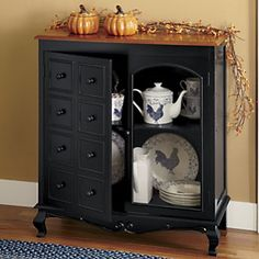 Two-tone Curved Console - Spruce up your space with stylish storage. Designed to look like it has drawers, our console actually has two doors—one glass paneled and one with a faux drawer-front—that open to reveal a fixed shelf. www.countrydoor.com