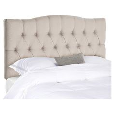Slumber in sophisticated style with this lovely upholstered headboard, showcasing a button-tufted design and neutral taupe hue.    Prod...