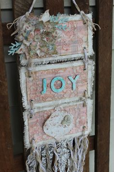 "Creative Scraps by Peggy Lee: Tattered ""JOY"" Banner with Canvas Corp Brands"