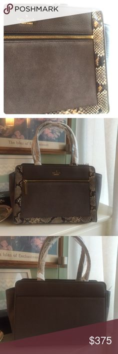 gone soon!Kate Spade Gray & Snakeskin Bag gone soon!Lovely shade of gray, very cozy feeling. First pic is most color accurate! Large with plenty of room for any and all things you would want to carry around this fall! Suede below front zipper, leather with snakeskin details. Back pocket and interior zipper. Price firm.  kate spade Bags