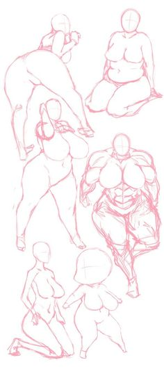 I love how these sketches show the true imagery of women's bodies. The use of pink lines really pleasing to the eye