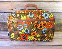 Vintage Cloth Suitcase Made in Japan