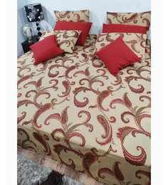 Heritage Fabs Royal Touch Beieg Double Bed Cover Set