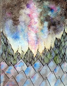 """""""in the night sky, I found hope"""" ink/watercolor"""