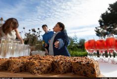 Flapjacks and raspberry champagne at a wedding reception at River Cottage