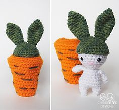 """Meet """"Beanie the Easter Bunny""""! His name comes from my husband telling me his carrot top hat looks like a beanie! He is a master of disguise, and he's probably hiding some Easter eggs in his carrot hideout! Easter Bunny Crochet Pattern, Diy Crochet Patterns, Crochet Designs, Crochet Ideas, Amigurumi Free, Basic Embroidery Stitches, Rabbit Toys, Handmade Toys, Pin Cushions"""
