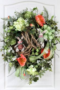 Easter Front Door Wreath Country Wreath Easter by FloralsFromHome Easter Wreaths, Fall Wreaths, Christmas Wreaths, Floral Wreaths, Wreaths For Front Door, Door Wreaths, Front Doors, Country Wreaths, Country Decor