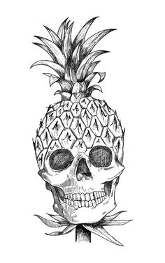 IT'S A SKULL MIXED WITH A PINEAPPLE