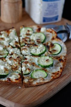 Skillet Zucchini and Feta Tortilla Pizza