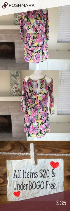 "🆕 NWOT cold shoulder floral dress From work to play, jump into spring with florals.  🐾 Cold shoulder style 🐾 Black base with multicolored floral pattern 🐾 Tie at back neck 🐾 Elastic waist and wrists 🐾 Fully lined 🐾 Bust: 18"" 🐾 Length: 38"" 🐾 Sleeve: 29"" 🐾 100% polyester 🐾 Dry clean only  🐾 Bundle discount 🐾 No trades, no PP 🐾 Smoke free, pet friendly home Charles Henry Dresses Midi"