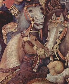Details from a medieval painting of horses. Although of course it cannot be confirmed how realistically this painting depicts this specimen, the horse with the blue eyes is quite striking. It has a clear blaze, so it could be the Splash marking giving it those attention-catching eyes; or is it perhaps a very early example of Champagne (look at its coat color), or some other dilution? We will most probably never know...