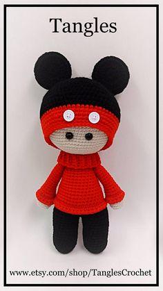 Micky Big Head Doll Amigurumi 15 Tall