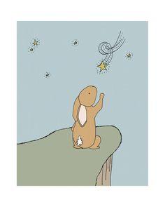Bunny Art Print Woodland Nursery Nursery Art by sweetmelodydesigns