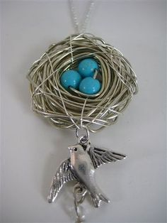 Wire bird's nest with blue bead eggs and silver bird charm.