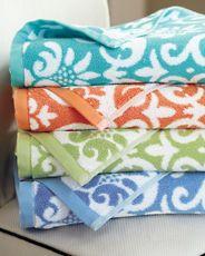 Garnet Hill Damask Floral Towels