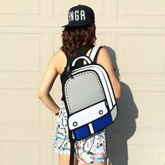The Slugger Cartoon Backpack! In blue, gray and white trim.
