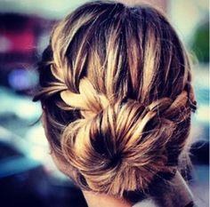 Bridesmaids hair, up-do bun with braid