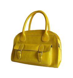 Yellow leather handbag / shoulder bag / leather purse / Anita / tftateam on etsy from artoncrafts