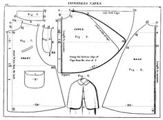 Inverness cape coat pattern with instructions.  Period.