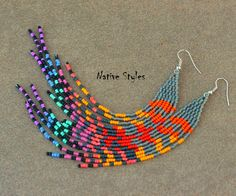 7Unique Long Seed Bead EarringsGrizzly Rooster
