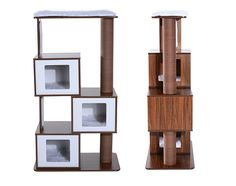 Modern Cat Tree with three hideaway compartments - The new Mid Century Modern Cat Tree from Pawhut offers lots of functionality for your cat with a sleek aesthetic for you.
