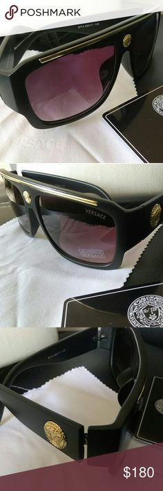 Versace Collection Mat Signature Men Sunshade Open box. Never worn . Still in original case . Mat finish acetate anti scratch frame with black faded tinted Non Polarized lenses and stamped with Classic Golden Medusa signature Versace Collection Accessories Glasses