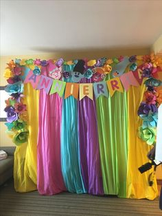 Backdrop for a trolls birthday party I tried.