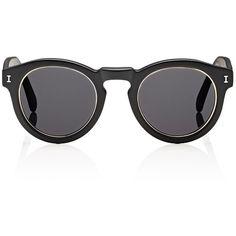 Illesteva Leonard Sunglasses ($177) ❤ liked on Polyvore featuring accessories, eyewear, sunglasses, black and mens round sunglasses