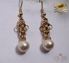 Goldy bees - Goldy byzantine bees pearls errings on Etsy, $25.00