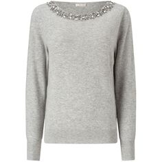 Jacques Vert Bling Neck Detail Jumper, Light Grey ($39) ❤ liked on Polyvore featuring tops, sweaters, boat neck jumper, boat neck tops, sparkle sweater, print sweater and jumpers sweaters