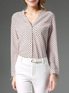 Shop Blouses - Modal Printed Long Sleeve Casual Blouse online. Discover unique designers fashion at StyleWe.com.