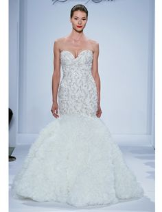 Sweetheart Mermaid Wedding Dress  with Dropped Waist in Silk Organza. Bridal Gown Style Number:32807620