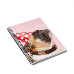 120 page spiral notebook featuring a cute picture of a party pug on the front cover. The cover is with paper stock of The notebook includes a docu Pug Accessories, Pugs, Spiral, Cute Pictures, Notebook, Paper, Cute Pics, Pug, Pug Dogs